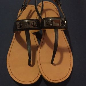 ❤️Coach Swagger sandals! Black Leather and EUC!!